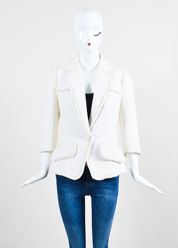 Cream Andrew Gn Wool Fringe Cropped Sleeve Blazer Jacket Frontview 2