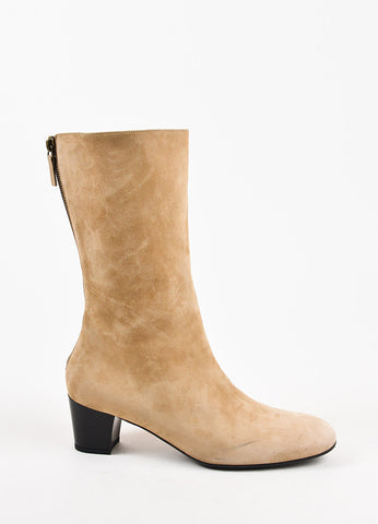 Balenciaga Beige Suede Mid Calf Low Heel Zip Up Boots Sideview