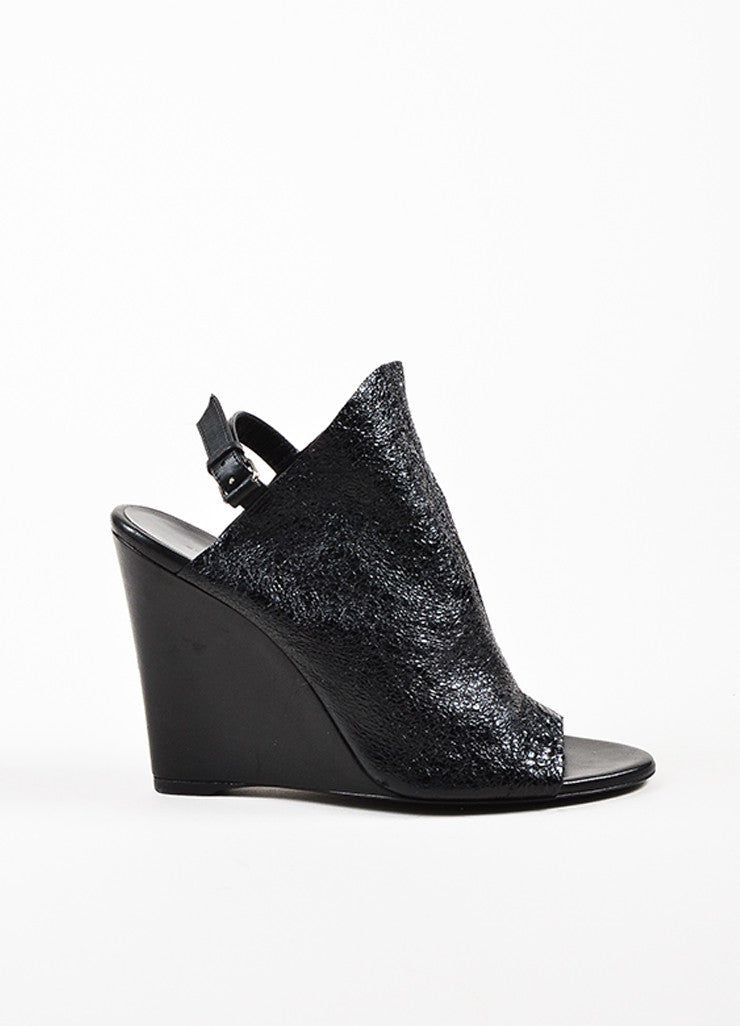 Balenciaga Black Crinkled Patent Leather Open Toe Wedges Sideview