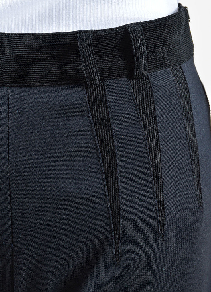 Balenciaga Black Wool and Cotton Stretch Knit Zipper Leg Skinny Pants Detail