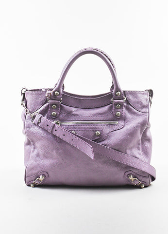 "Balenciaga Lilac Purple Leather ""Giant 12 Velo"" Crossbody Bag Frontview"