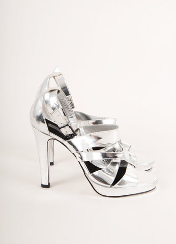Barbara Bui Silver Metallic Strappy Leather High Heel Sandals Sideview