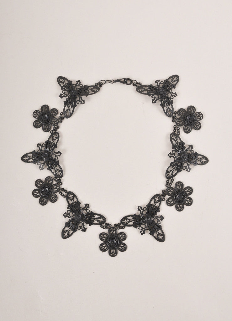 Bottega Veneta Black Matte Metal Filigree Statement Necklace Frontview