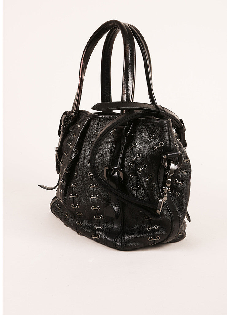 Burberry Black Grain Leather Grommet Staple Link Handbag Sideview