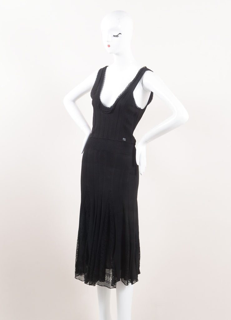Chanel Black Textured Ribbed Knit Eyelet Pleated Sleeveless Dress Sideview