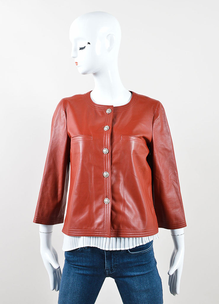 Chanel Dark Red Leather Button Up Crop Sleeve Blazer Frontview