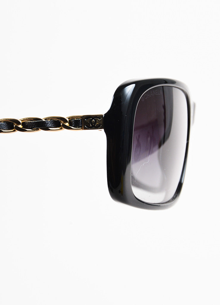 Chanel Black Gold Toned Chain Link Rectangular Sunglasses Detail