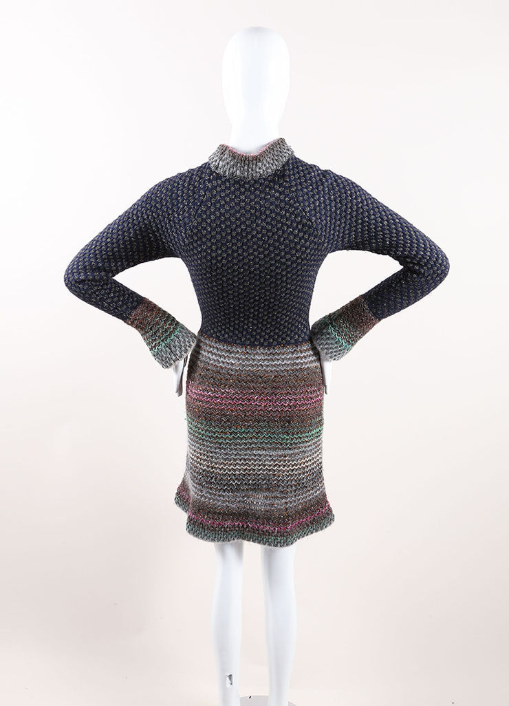 Chanel Multicolor Cotton, Wool, and Silk Metallic Knit Sweater Dress Backview