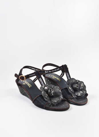 Brown and Black Chanel Mesh Suede Floral 'CC' T-Strap Wedge Sandals Frontview