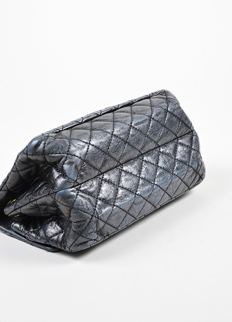 Dark Grey Chanel Leather Metallic Quilted Chain Reissue Accordion Flap Bag Bottom View