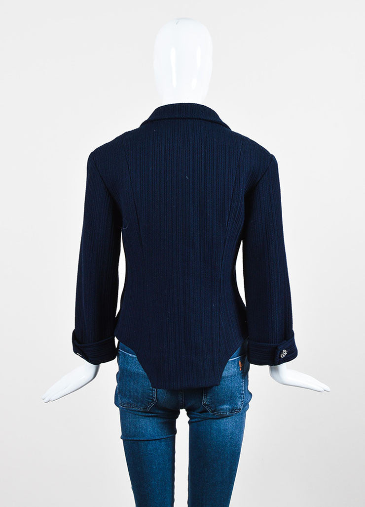Chanel Navy Ribbed Peak Lapel Three Quarter Sleeve Double Breasted Blazer Backview