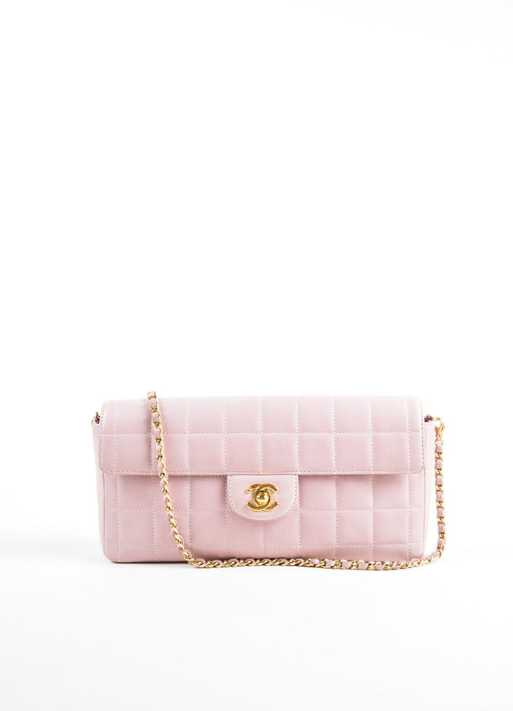 "Chanel Pink Square Quilted Leather ""Chocolate Bar"" Shoulder Flap Bag Frontview"