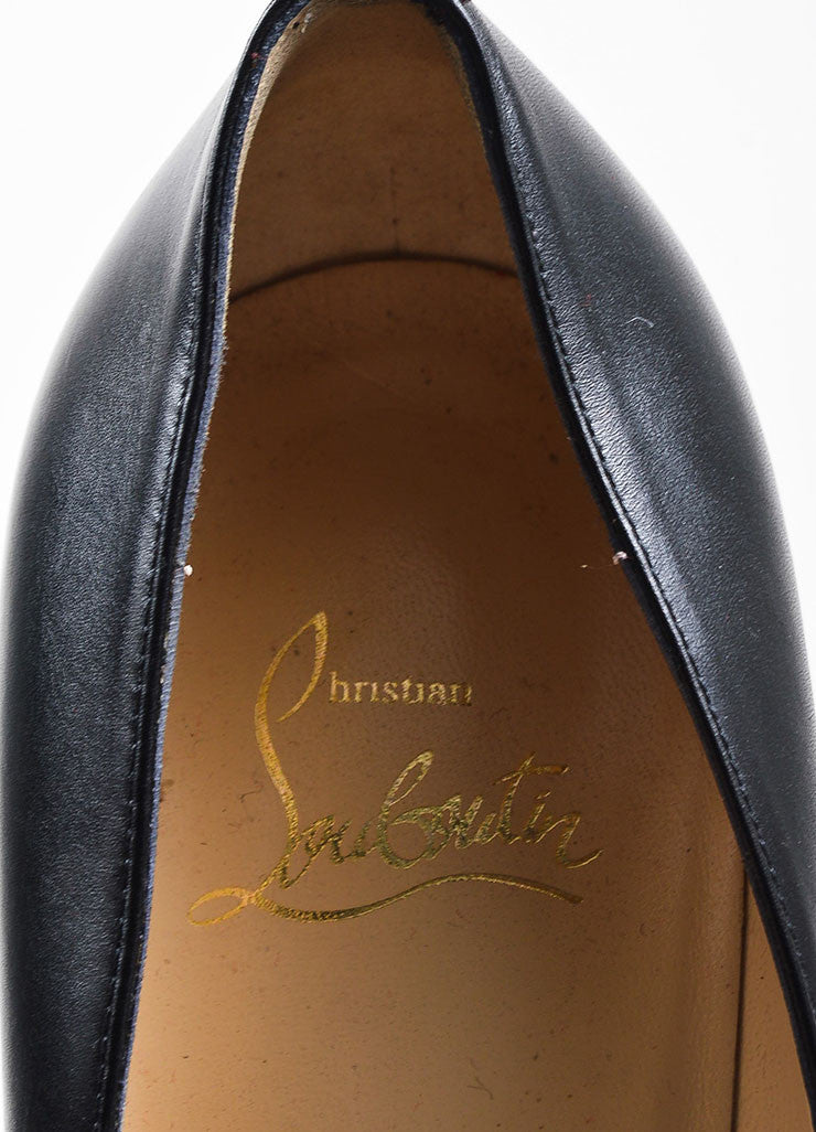 "Christian Louboutin Black Leather ""Roland Zip 120"" Platform Pumps Brand"