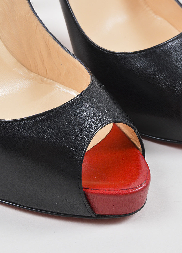 "Christian Louboutin Black and Red Leather Peep Toe ""Very Prive 120"" Pumps Detail"