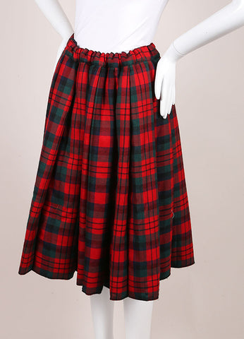Comme des Garcons Red, Green, and Multicolor Wool Plaid Padded Full Skirt Sideview