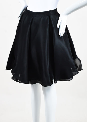 Cushnie Et Ochs Black Silk Layered Pleated Flare Skirt Sideview