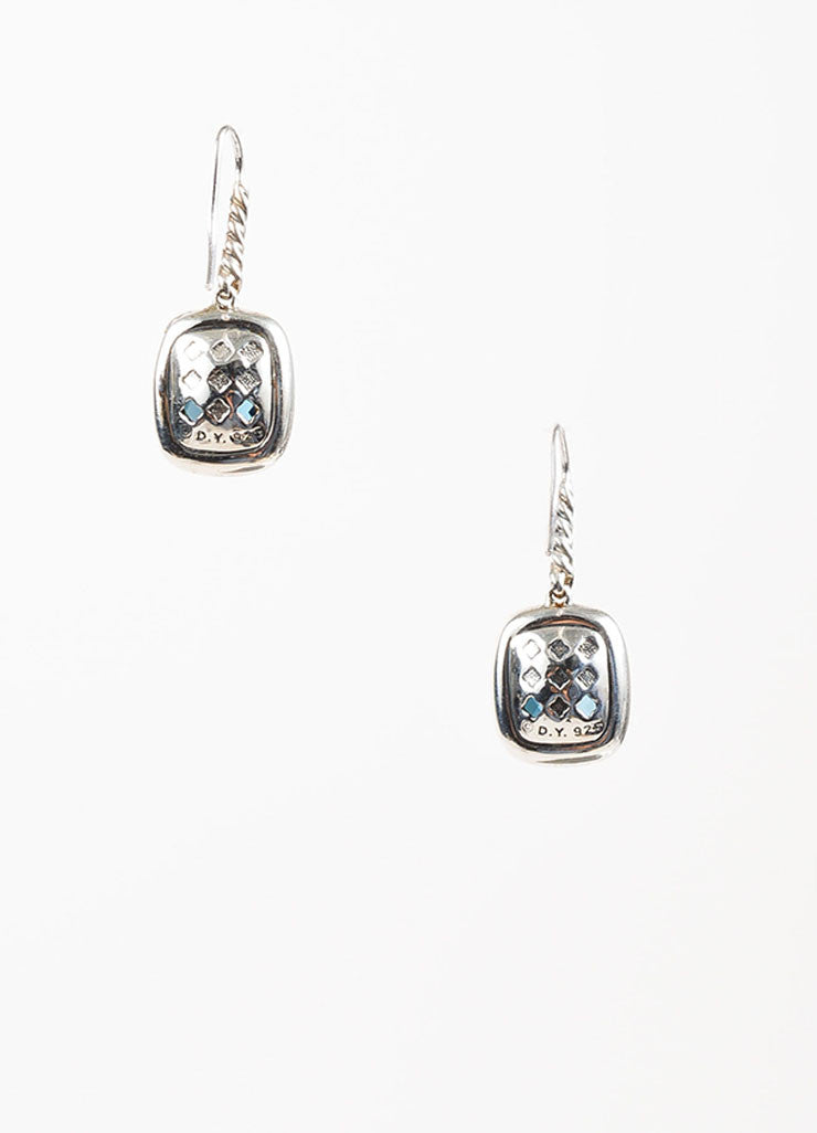 "David Yurman Blue Topaz, Sterling Silver, and Diamond ""Noblesse"" Drop Earrings Backview"