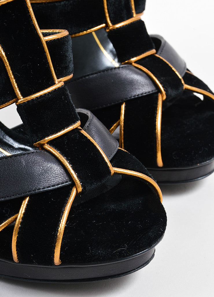 "Gucci Black and Gold Suede Leather Metallic ""Malika"" Sandal Heels Detail"