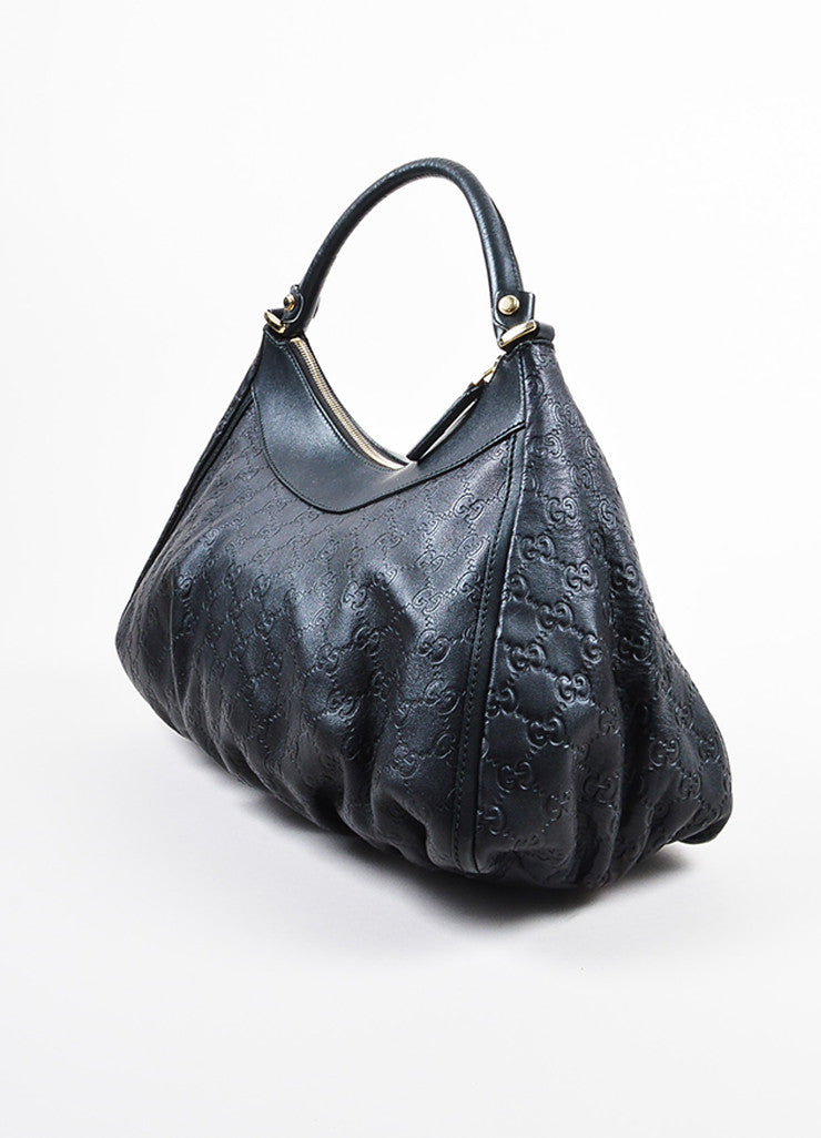 "Gucci Black Leather Logo Embossed ""Guccissima"" Hobo Bag Sideview"