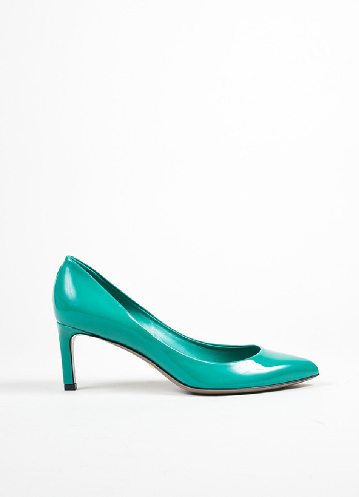 "Gucci ""Spring Water"" Teal Patent Leather Pointed Toe 65mm Pumps Sideview"