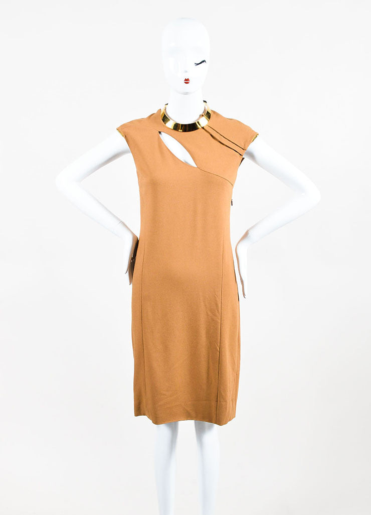 Gucci Tan and Gold Toned Metal Plate Cap Sleeve Necklace Dress Frontview