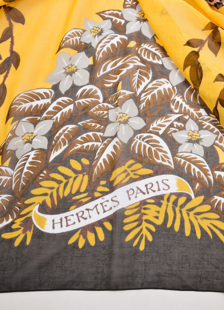 Hermes Yellow and Brown Floral and Leopard Print Oversized Scarf Brand