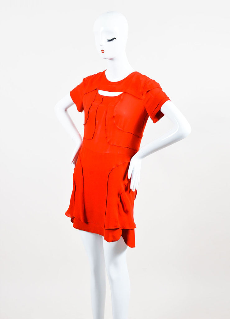 Isabel Marant Red Silk Tiered Cut Out Short Sleeve Dress Sideview