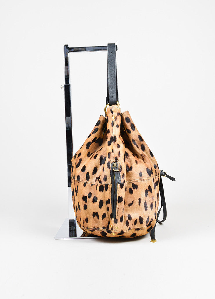 "Tan and Brown Jerome Dreyfuss Pony Hair Leopard Drawstring ""Alain"" Bucket Bag Sideview"