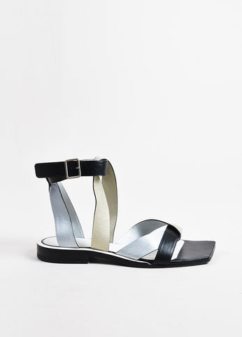 Jil Sander Gold, Silver, and Black Leather Cross Wrap Strap Flat Sandals Sideview