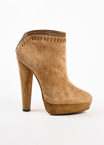 Jimmy Choo Tan Suede Brown Leather Trim Platform Heeled Ankle Booties Sideview