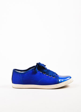 Lanvin Blue Canvas Metallic Leather Cap Toe Lace Up Sneakers Sideview