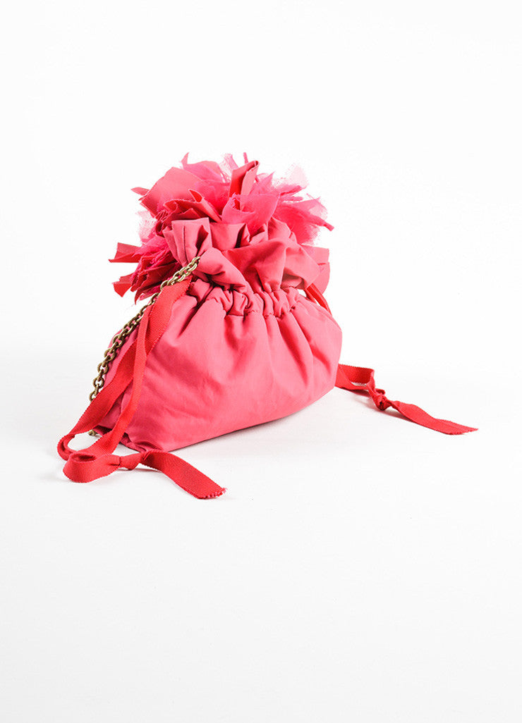 Lanvin Pink Cotton and Nylon Pompom Flower Evening Pouch Shoulder Bag Sideview