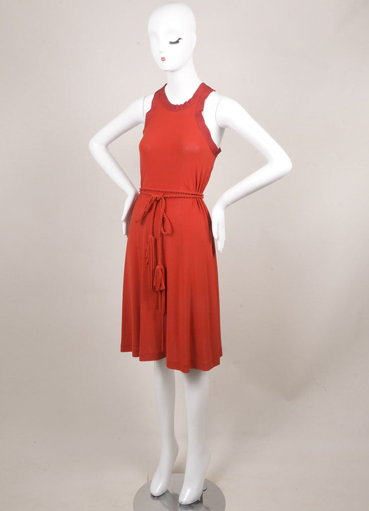 Lanvin Red Jersey Racer Back Rope Belted Trapeze Dress Sideview