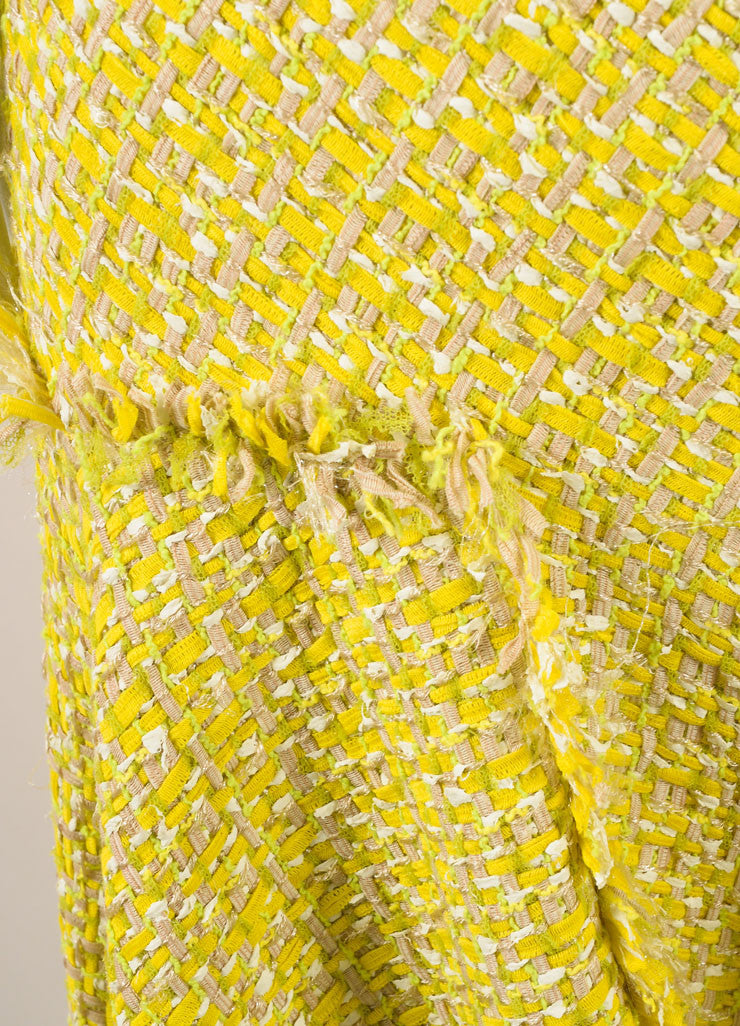 Lanvin Yellow and Green Woven Knit Frayed Trim Pleated Sleeveless Dress Detail