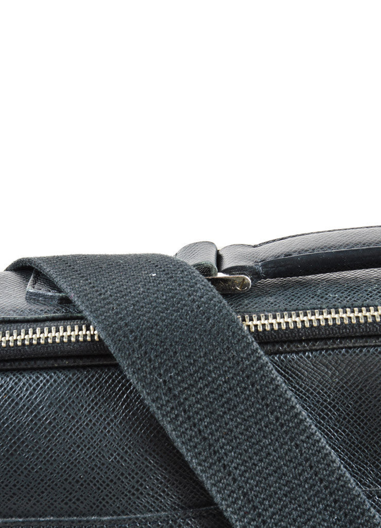 "Louis Vuitton Black Taiga Leather ""Odessa"" Laptop Carrying Briefcase Detail 4"