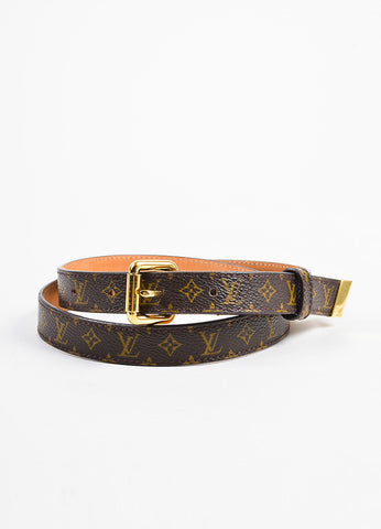 Louis Vuitton Brown Monogram Canvas Skinny Belt Frontview
