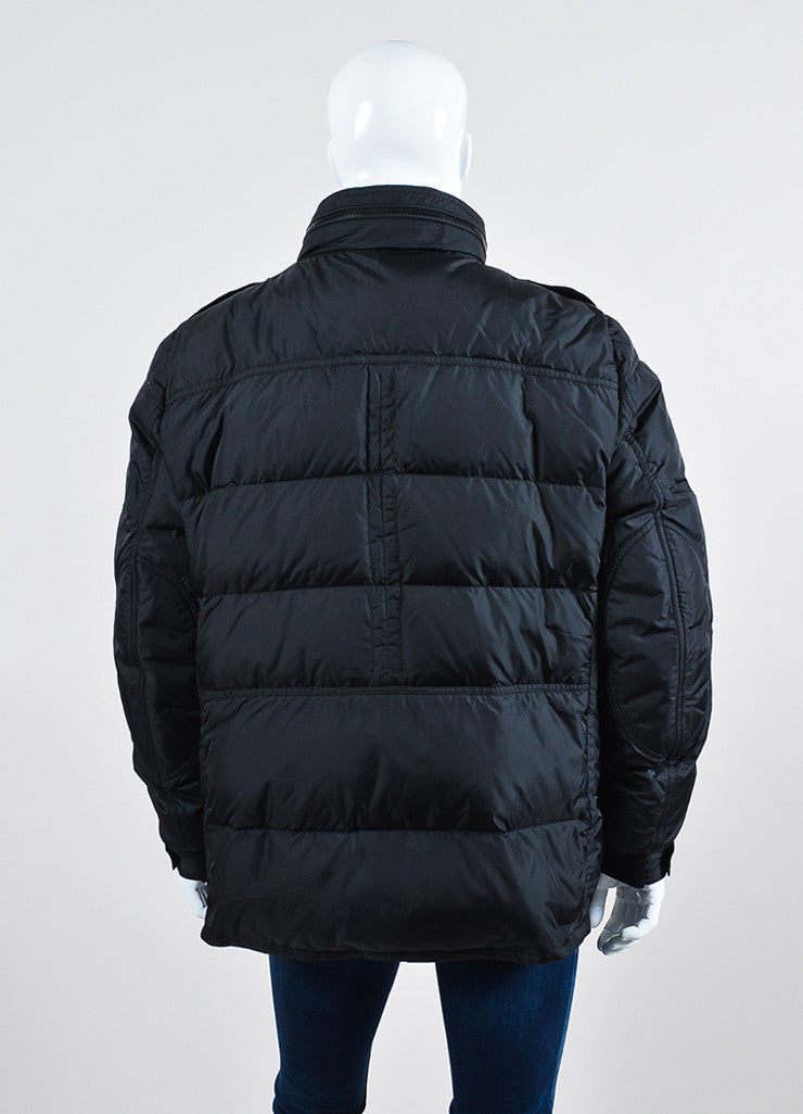 Men's Moncler Black Down Winter Coat Backview