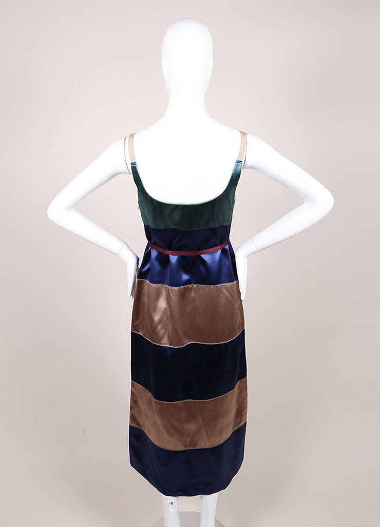 Marc Jacobs New With Tags Green, Blue, and Taupe Striped Satin Sleeveless A-Line Dress Backview