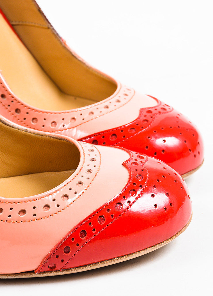 Miu Miu Pink, Red, and Maroon Patent Leather Oxford Style Block Heel Pumps Detail
