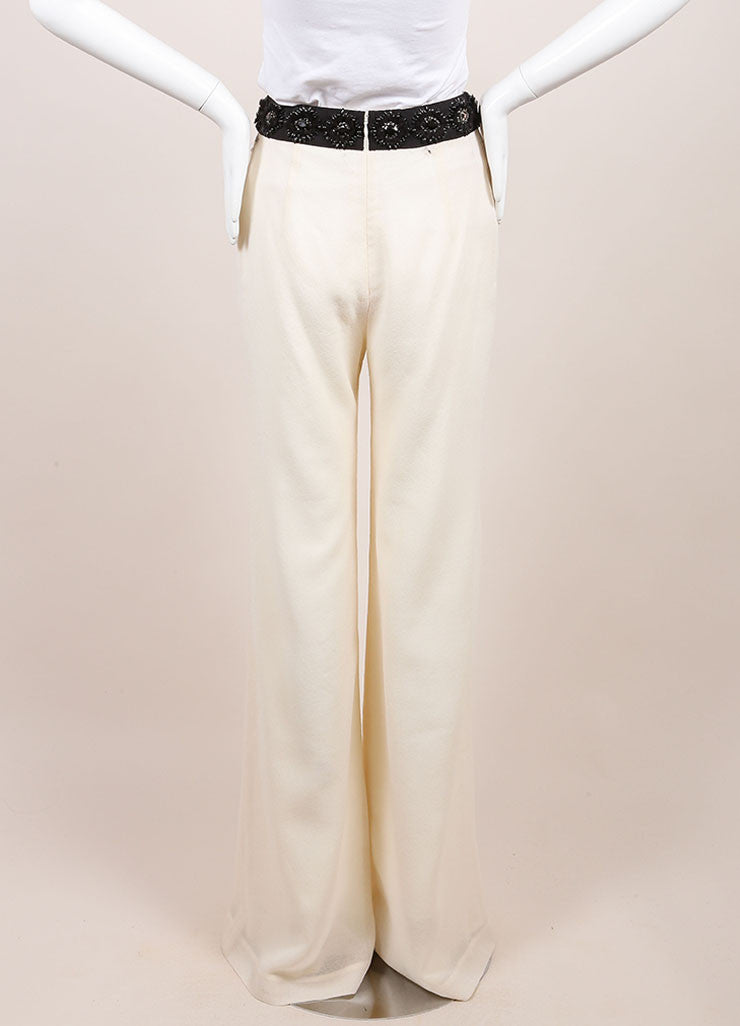 Naeem Khan New With Tags Ivory Wide Leg Wool Evening Pants Backview