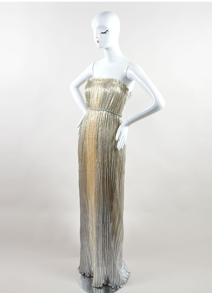 Oscar de la Renta Gold Metallic Silk Blend Lamé Plissé Strapless Gown Sideview