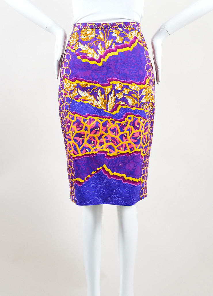 Peter Pilotto Multicolor Cotton Psychedelic Print Pencil Skirt Frontview