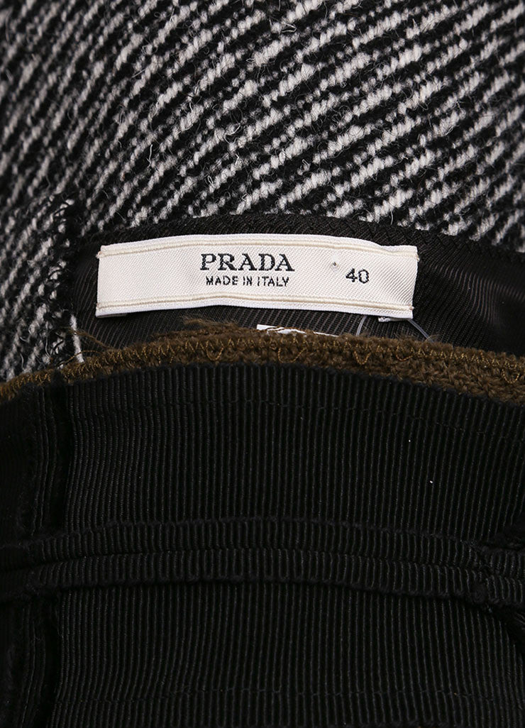 Prada Black and White Wool and Mohair Tweed Flower Embroidered Sleeveless Dress Brand