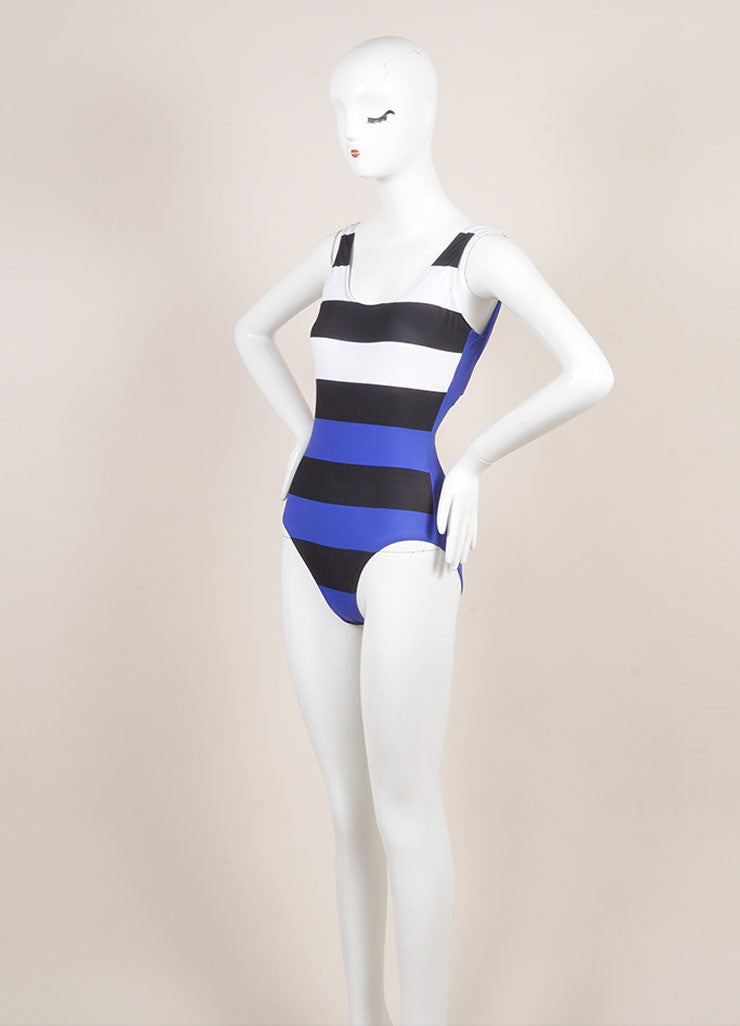 Pret a Surf New With Tags Blue, Black, and White Stripe One Piece Scoop Neck Swimsuit Sideview
