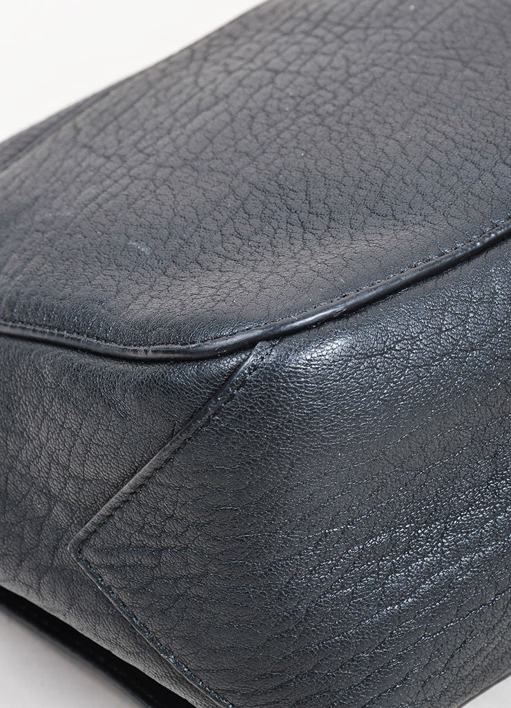 "Black Proenza Schouler Leather Embossed Snakeskin ""Courier"" Shoulder Bag Detail"