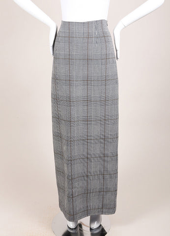 "Rosie Assoulin New With Tags Navy Wool Houndstooth ""Prince of Wales"" Maxi Skirt Frontview"