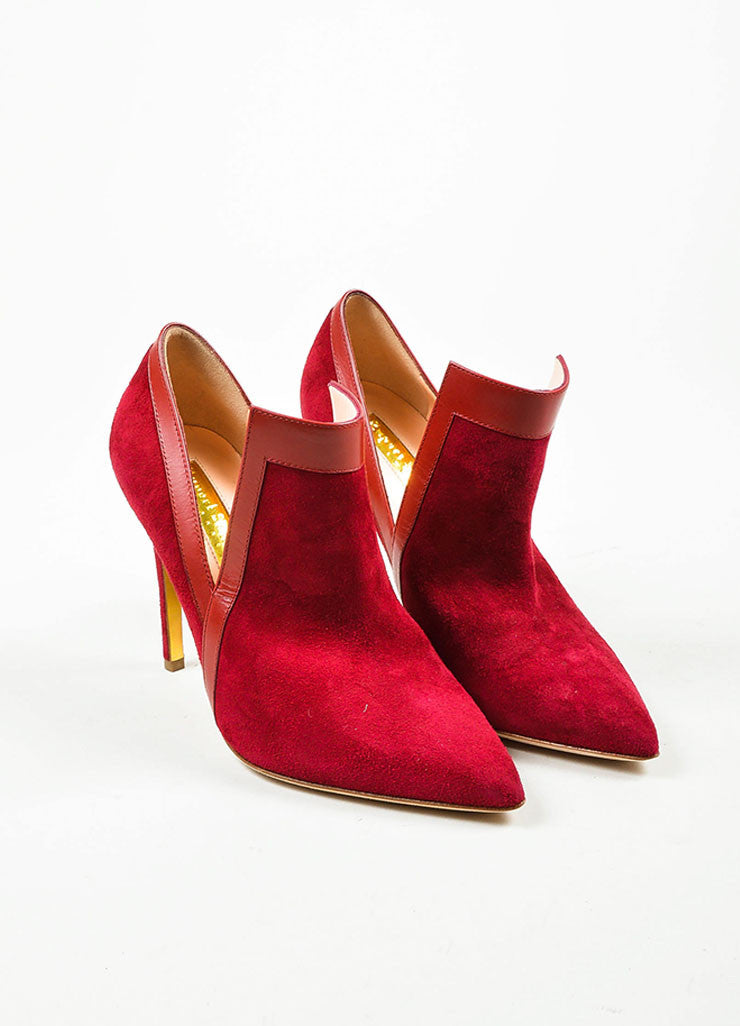"Red Rupert Sanderson Suede Point Toe ""Rima"" Heeled Booties Frontview"
