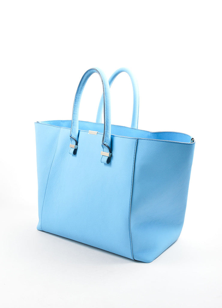 "Victoria Beckham Blue ""Celeste"" Buffalo and Calf Leather ""Liberty"" Tote Bag Sideview"