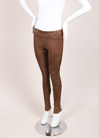 Vince Brown Paneled Suede Leather Leggings Sideview