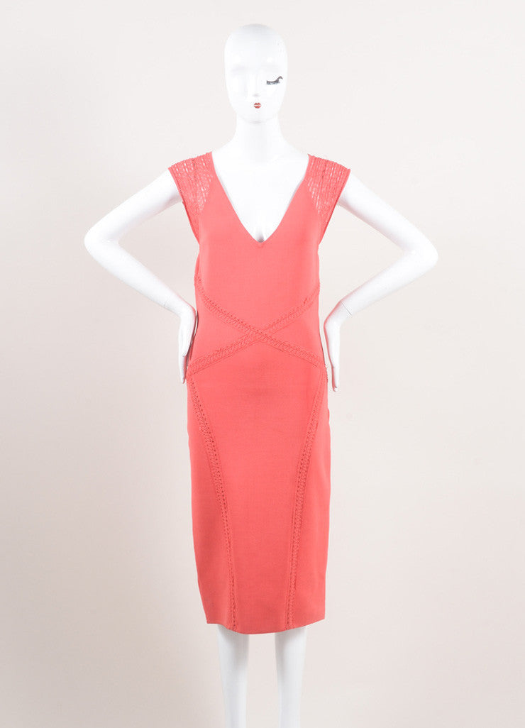 Zac Posen New With Tags Coral Woven Stretch Knit Crochet Trim Bodycon Dress Frontview